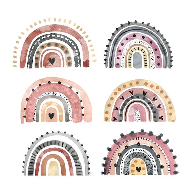Ensemble d'arc-en-ciel élégant aquarelle isolé sur fond blanc. éléments dessinés à la main pour logo, décoration de pépinière, textile et autres fins.