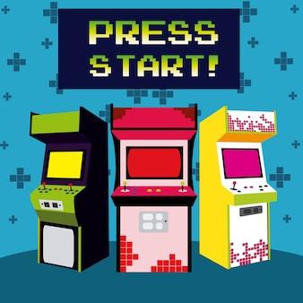 Ensemble d'arcades presse start designs