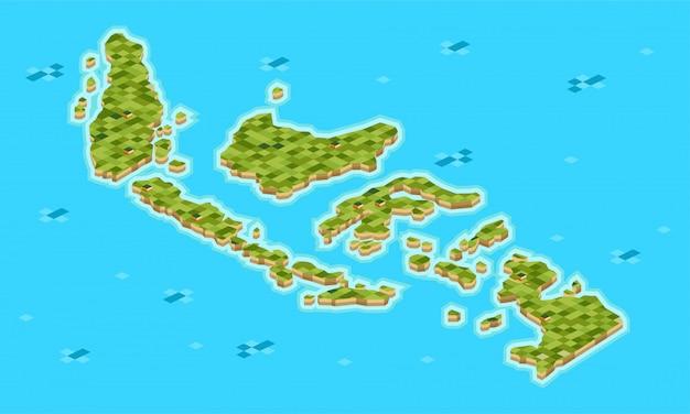 Ensemble de l'archipel indonésien isométrique composé de nombreuses grandes et petites îles -