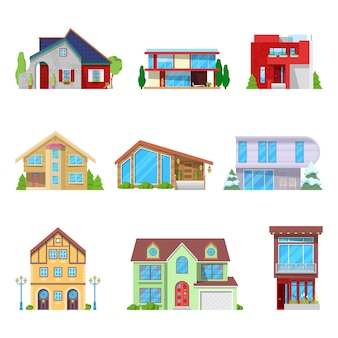 Ensemble architectural de maisons modernes et de bâtiments de chalets.