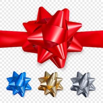 Ensemble d'arcs brillants réalistes. élément de décoration pour la saint-valentin ou d'autres vacances.