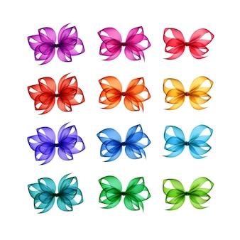 Ensemble d'arcs de cadeau lumineux colorés