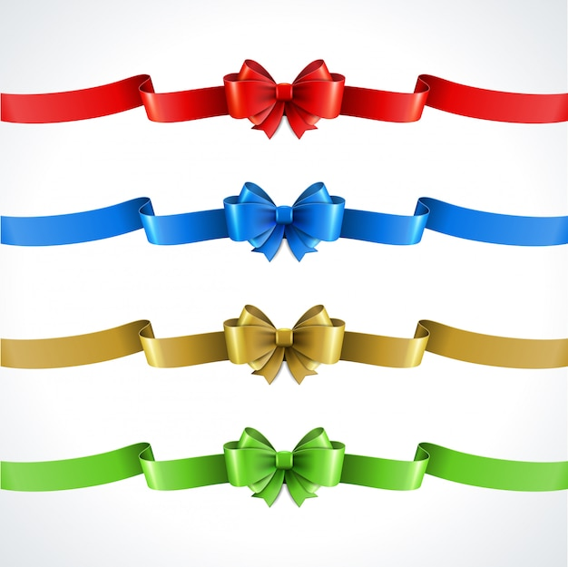 Ensemble d'arcs de cadeaux décoratifs avec des rubans isolés on white