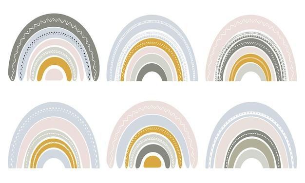 Ensemble d'arcs-en-ciel mignons dans un style scandinave. arc-en-ciel aquarelle isolé sur fond blanc. couleurs pastel. art moderne.