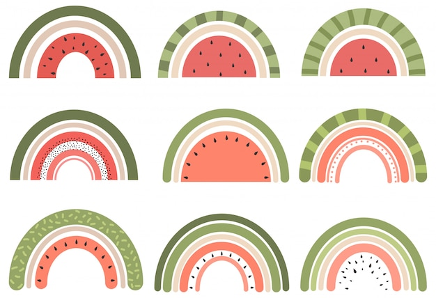 Ensemble d'arcs-en-ciel mignons en style cartoon. collection de pastèque arc-en-ciel
