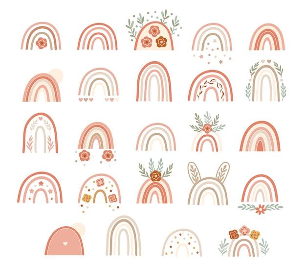 Ensemble d'arcs-en-ciel roses neutres avec des éléments floraux. illustration vectorielle.