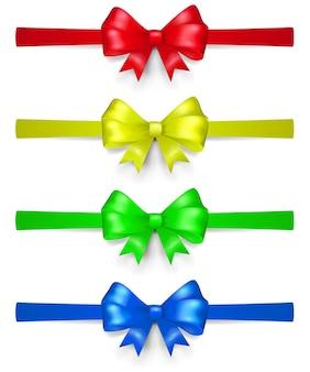 Ensemble d'arcs multicolores en ruban, situés horizontalement, avec des ombres