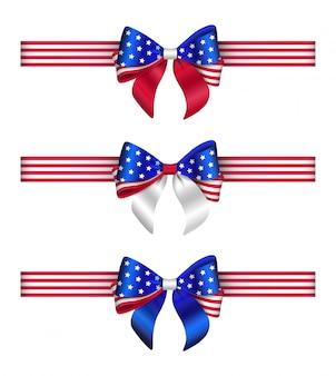 Ensemble d'arcs et de rubans aux couleurs du drapeau des états-unis. noeuds et rubans américains