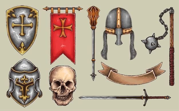 Ensemble d'arme d'armure de chevalier