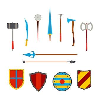 Ensemble d'armes anciennes et de boucliers médiévaux. mêlée, arme froide.