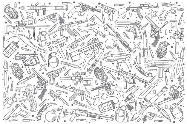 Ensemble d'armes dessinées à la main