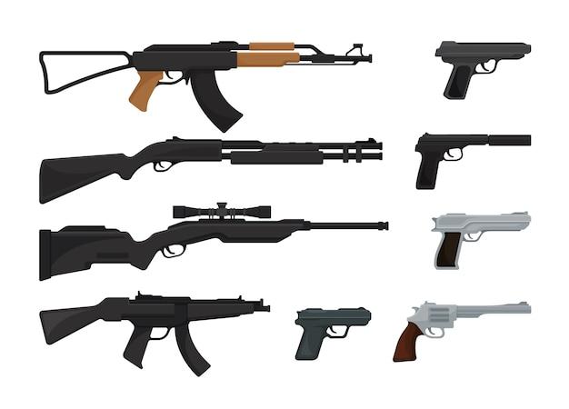 Ensemble d'armes à feu isolé sur blanc