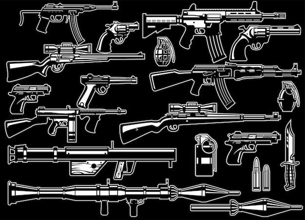 Ensemble d'armes et de fusils militaires
