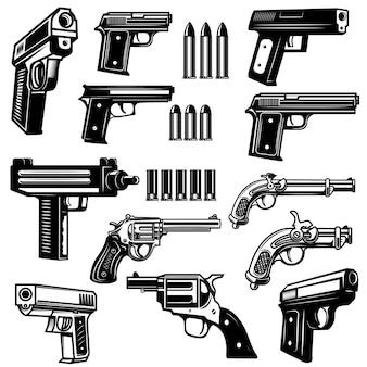 Ensemble d'armes de poing, illustrations de revolver.