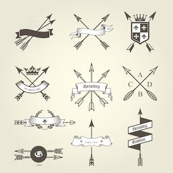 Ensemble d'armoiries avec flèches arc - emblèmes et blasons, sceaux héraldiques