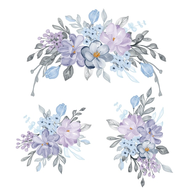 Ensemble d'arrangement de belles fleurs lilas