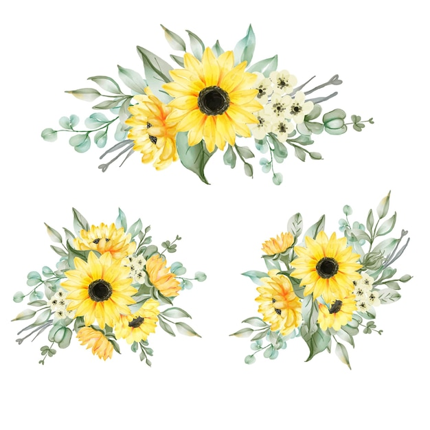 Ensemble d'arrangement de bouquet de tournesol