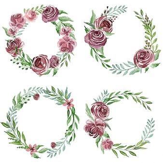 Un ensemble d'arrangement de fleurs d'aquarelle pourpre ou un bouquet d'invitation de mariage