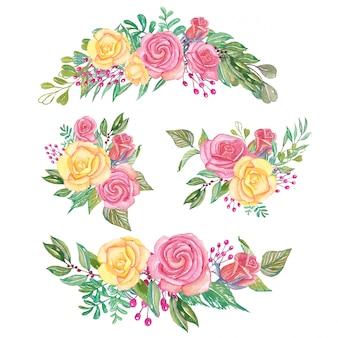 Ensemble d'arrangement floral rose et jaune aquarelle et bouquet