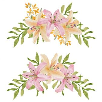 Ensemble d'arrangements de fleurs de lis peintes à la main aquarelle