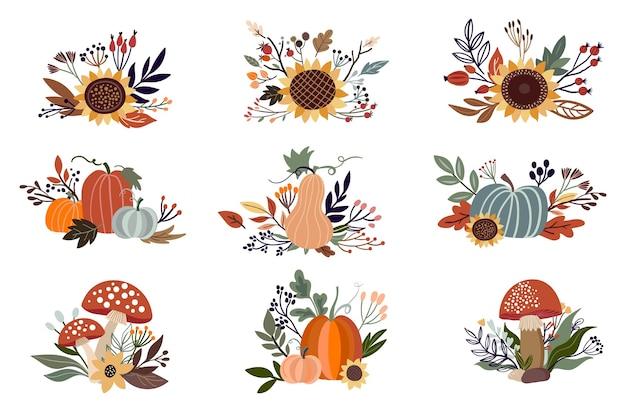 Ensemble d'arrangements floraux automne isolé sur blanc