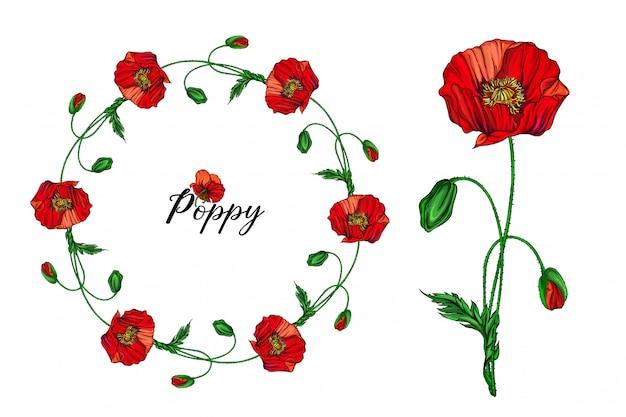 Ensemble d'arrangements floraux avec des fleurs de pavot rouges