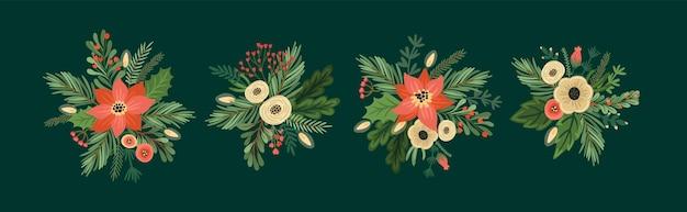 Ensemble d'arrangements floraux de noël et de bonne année. arbre de noël, fleurs, baies. symboles du nouvel an. modèle de conception de vecteur.