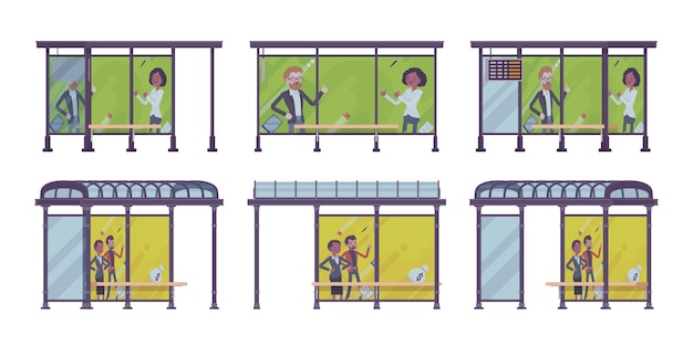 Ensemble d'arrêt de bus. placez les passagers attendent les transports publics, des bannières avec de la publicité. embellissement de la rue de la ville, concept urbain. illustration de dessin animé de style, différentes positions