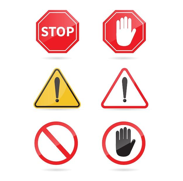 Ensemble d'arrêt de panneau de signalisation. panneau d'avertissement.
