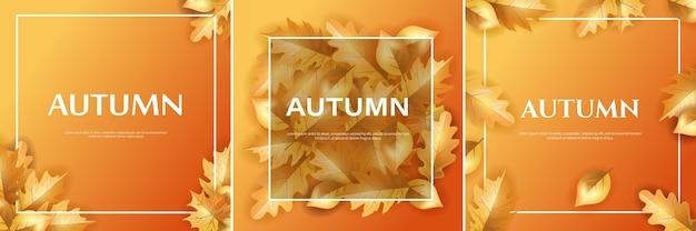 Ensemble d'arrière-plan ou d'affiche de conception d'automne