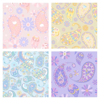 Ensemble d'arrière-plan transparent vecteur motif paisley pastel