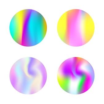 Ensemble d'arrière-plans abstraits en filet de dégradé. toile de fond holographique colorée avec filet de dégradé. style rétro des années 90 et 80. modèle graphique irisé pour bannière, flyer, couverture, interface mobile, application web.