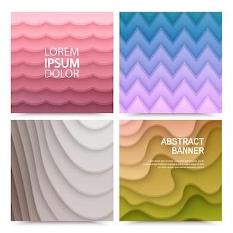 Ensemble d'arrière-plans abstraits avec des formes découpées en papier de couleurs dégradées colorées