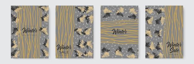 Ensemble d'arrière-plans abstraits d'hiver bannières d'hiver colorées avec des flocons de neige tombant des arbres enneigés...