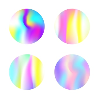 Ensemble d'arrière-plans abstraits hologramme. toile de fond dégradé coloré avec hologramme. style rétro des années 90 et 80. modèle graphique nacré pour bannière, flyer, couverture, interface mobile, application web.
