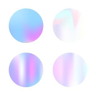 Ensemble d'arrière-plans abstraits hologramme. toile de fond dégradé minimal avec hologramme. style rétro des années 90 et 80. modèle graphique irisé pour bannière, flyer, couverture, interface mobile, application web.