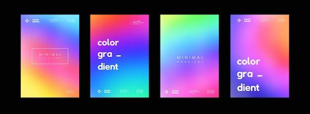 Ensemble d'arrière-plans colorés en dégradé doux. décors de couleurs abstraites modernes. collection d'écrans d'interface utilisateur lumineux. art psychédélique.
