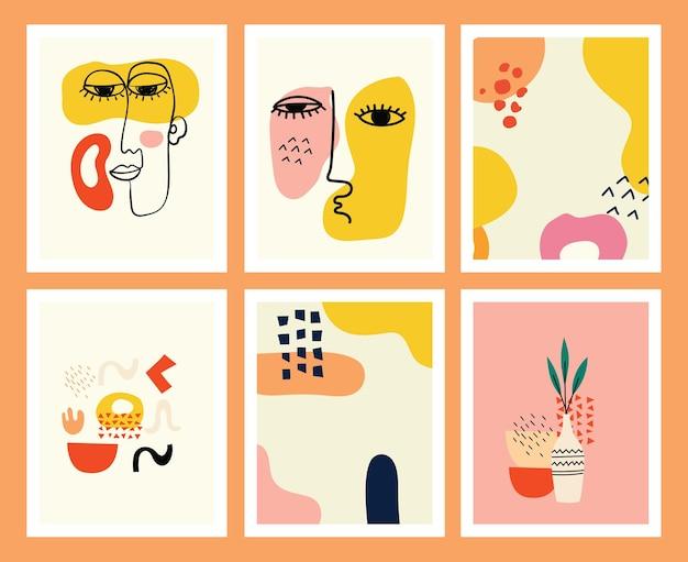Ensemble d'arrière-plans avec diverses formes et objets de griffonnage dessinés à la main. illustration vectorielle moderne et moderne abstraite.