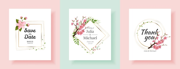 Ensemble d'arrière-plans de fleurs de sakura. conception de modèle de cartes d'invitation de mariage floral. invitation de vacances, cartes de voeux et design de mode