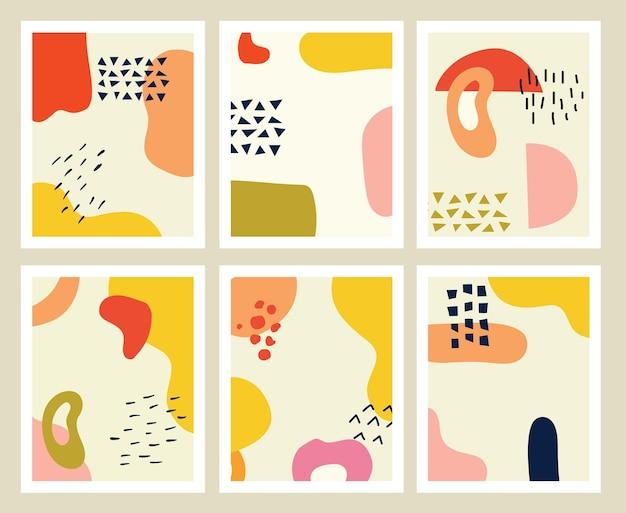 Ensemble d'arrière-plans avec des formes dessinées à la main et des objets de griffonnage abstrait contemporain moderne tendance vec ...