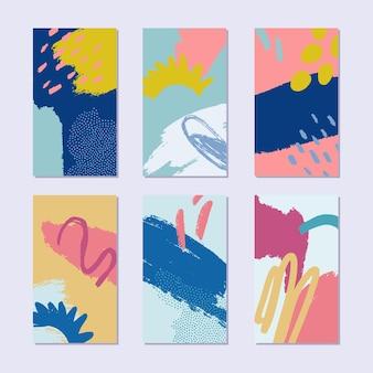 Ensemble d'arrière-plans d'histoire de collage abstrait