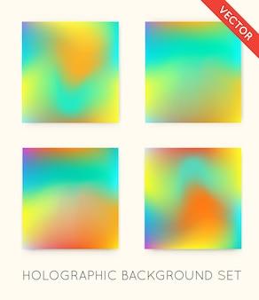 Ensemble d'arrière-plans holographiques à la mode. peut être utilisé pour la couverture, le livre, l'impression, la mode.