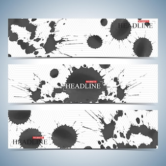 Ensemble d'arrière-plans horizontaux aquarelles. modèle de conception de site web de page moderne. illustration vectorielle.