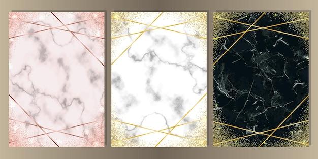 Ensemble d'arrière-plans en marbre noir blanc rose paillettes d'or et lignes modèles a4