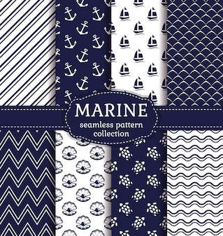 Ensemble d'arrière-plans marins et nautiques dans les couleurs bleu marine et blanc. thème de la mer. collection de modèles sans couture mignon. illustration vectorielle.