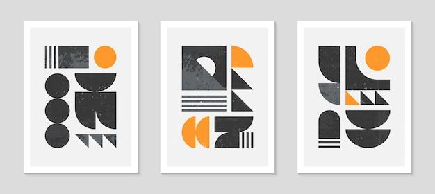 Ensemble d'arrière-plans de motifs géométriques bstract bauhaus. design géométrique minimaliste à la mode avec des formes et des éléments simples. illustration vectorielle artistique moderne du milieu du siècle. décor futuriste d'art mural.