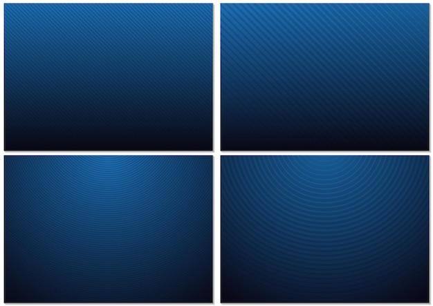 Ensemble d'arrière-plans avec des motifs rayés et un dégradé bleu-noir