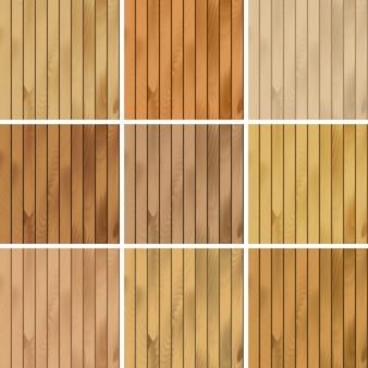 Ensemble d'arrière-plans de motifs de textures sans couture en bois