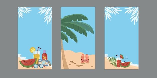 Un ensemble d'arrière-plans avec la plage et la mer