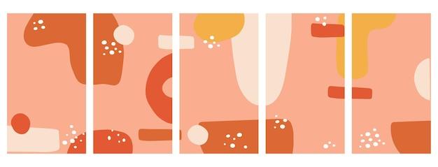Ensemble d'arrière-plans pour plate-forme de médias sociaux, histoires instagram, bannière avec des formes abstraites et des points.